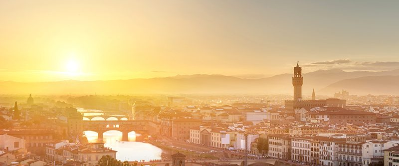 Photography of Florence Arno River and Ponte Vecchio at sunset