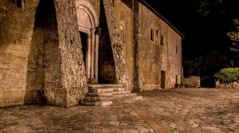 Photography of Sovana cathedral at night